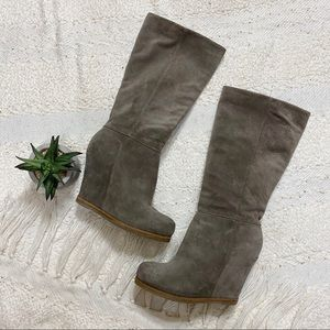 Lucky Brand gray suede tall wedge heel boots